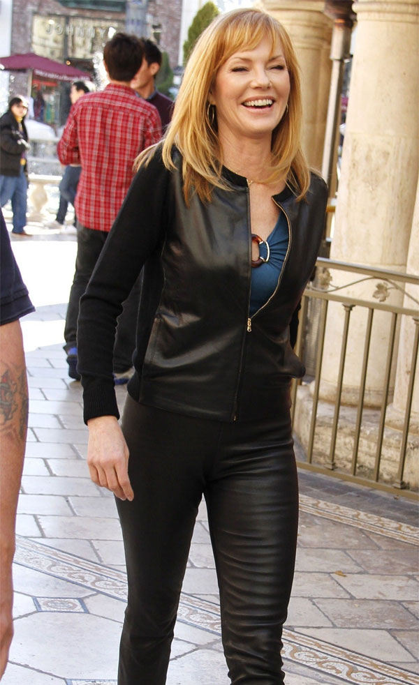Marg Helgenberger at  The Grove for an appearance on Extra