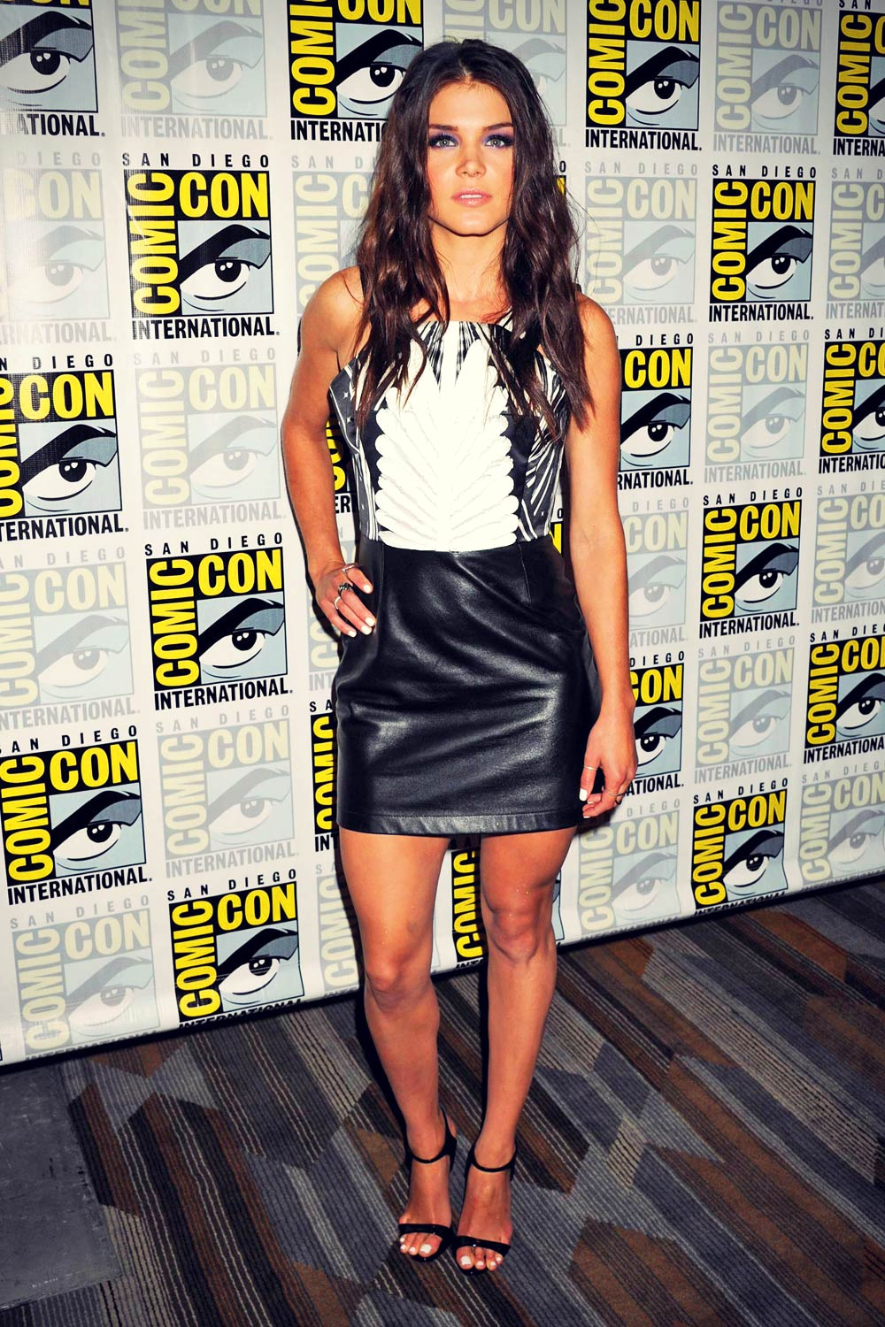 Marie Avgeropoulos Attends The 100 Press Line Leather