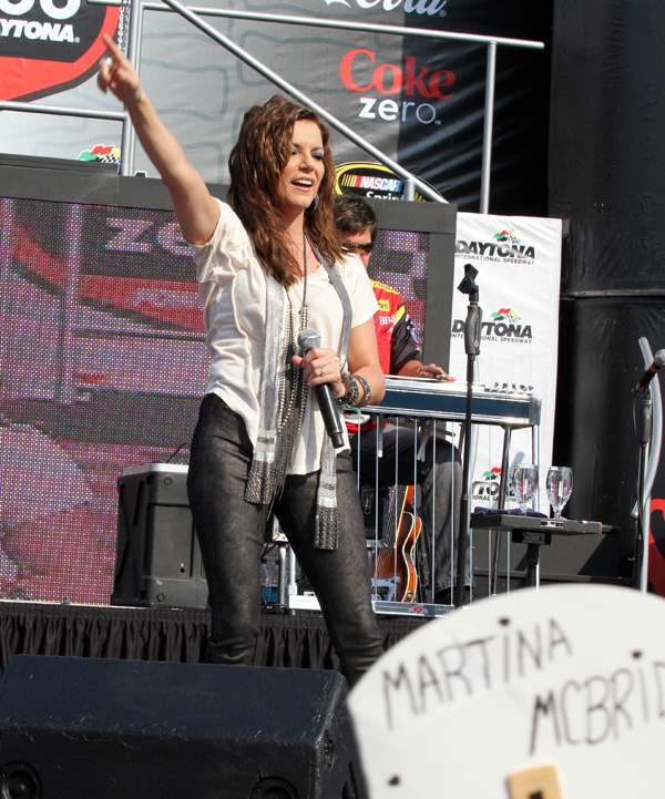 Martina McBride performing at the NASCAR Coke Zero 400 in Daytona