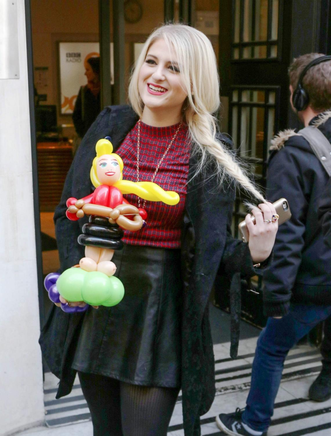 Meghan Trainor is seen leaving BBC Radio 2 Studios
