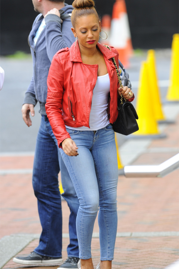 Melanie Brown arriving at The Lowry Hotel