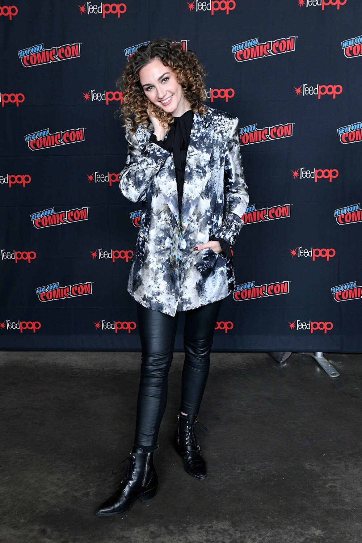 "Katherine Barrell speaks on stage at SYFY & IDW Entertainment's ""Wynonna Earp"""