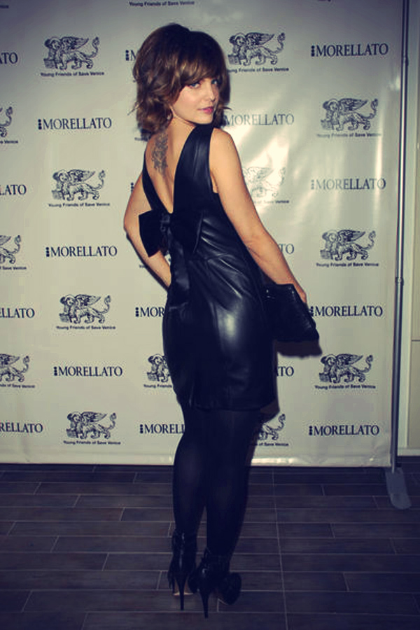 Mena Suvari leather dress