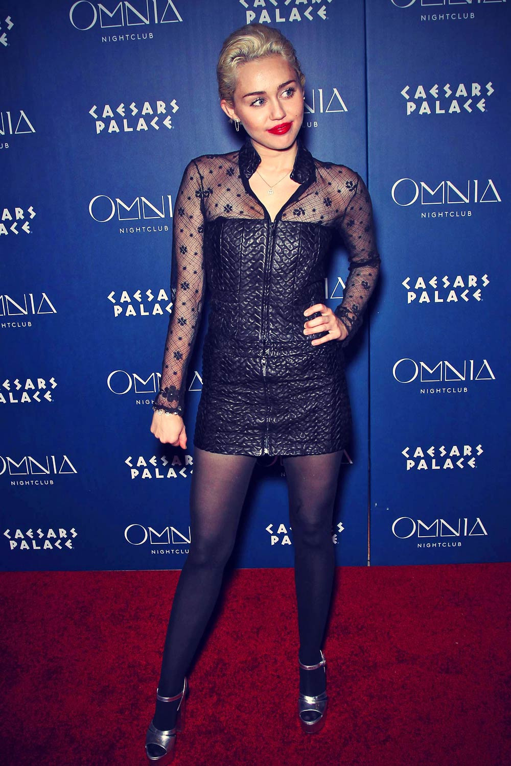 Miley Cyrus At Omnia Nightclub Leather Celebrities