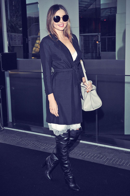 Miranda Kerr is seen leaving the Sonia Rykiel Fashion Show during Paris Fashion Week Womenswear Fall