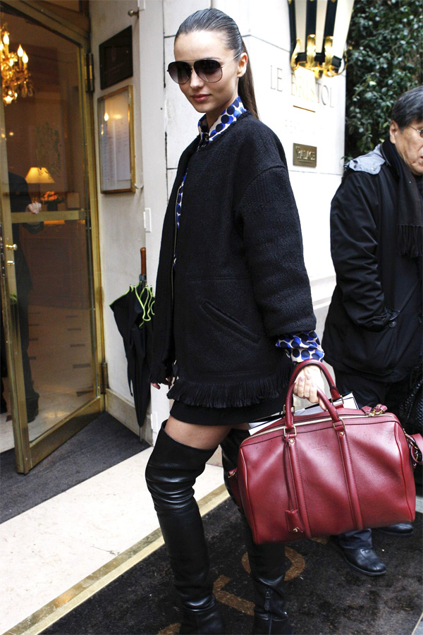 Miranda Kerr arriving at Hotel Le Bristol Paris