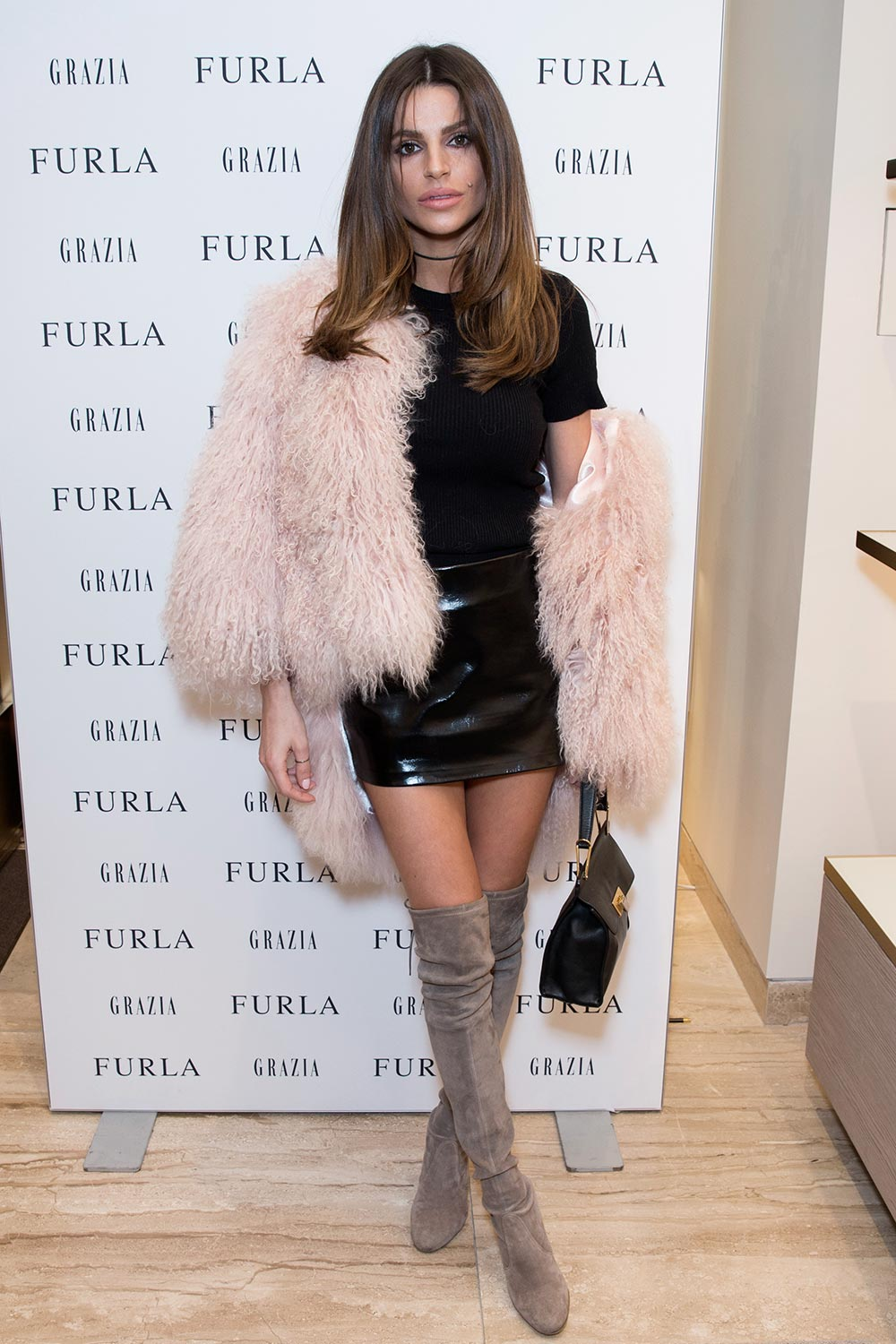 Missi Beqir attends a VIP party to celebrate the opening of luxury Italian brand Furla