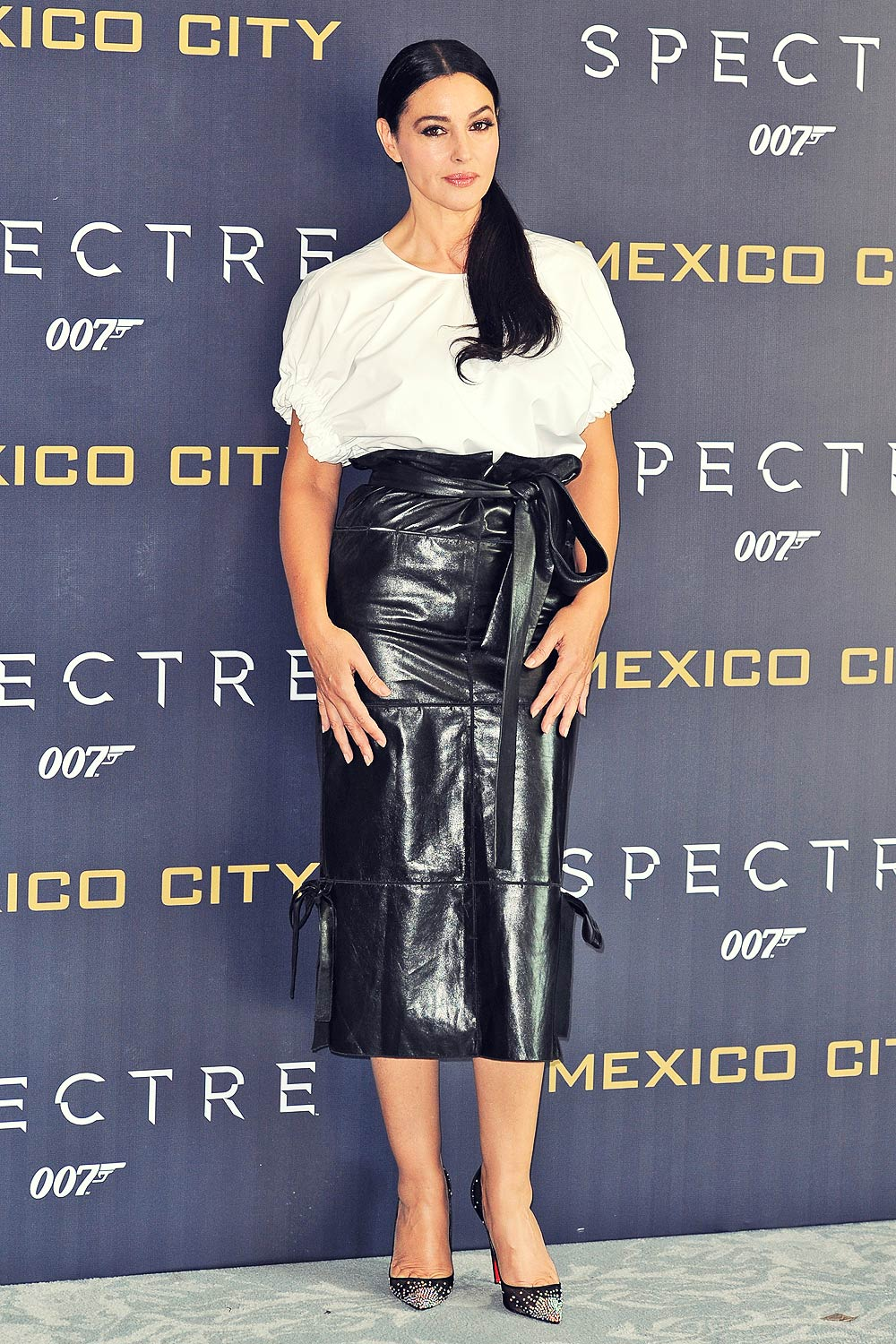 Monica Bellucci Attends Spectre Photocall Leather