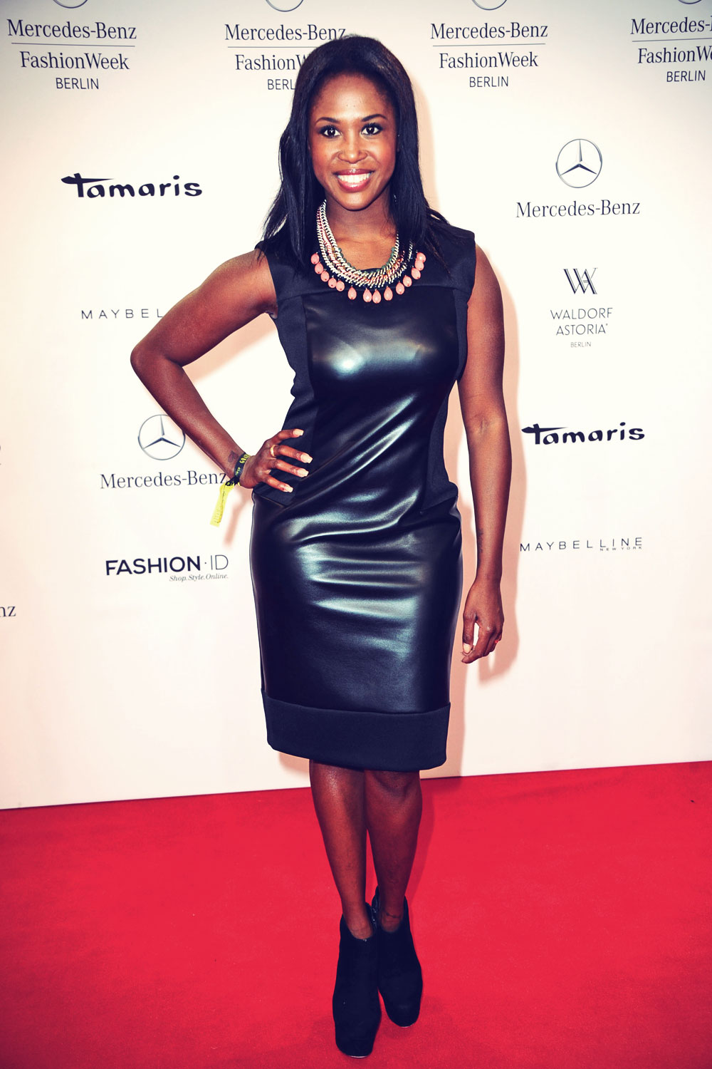 motsi mabuse attends mercedes benz fashion week leather celebrities. Black Bedroom Furniture Sets. Home Design Ideas