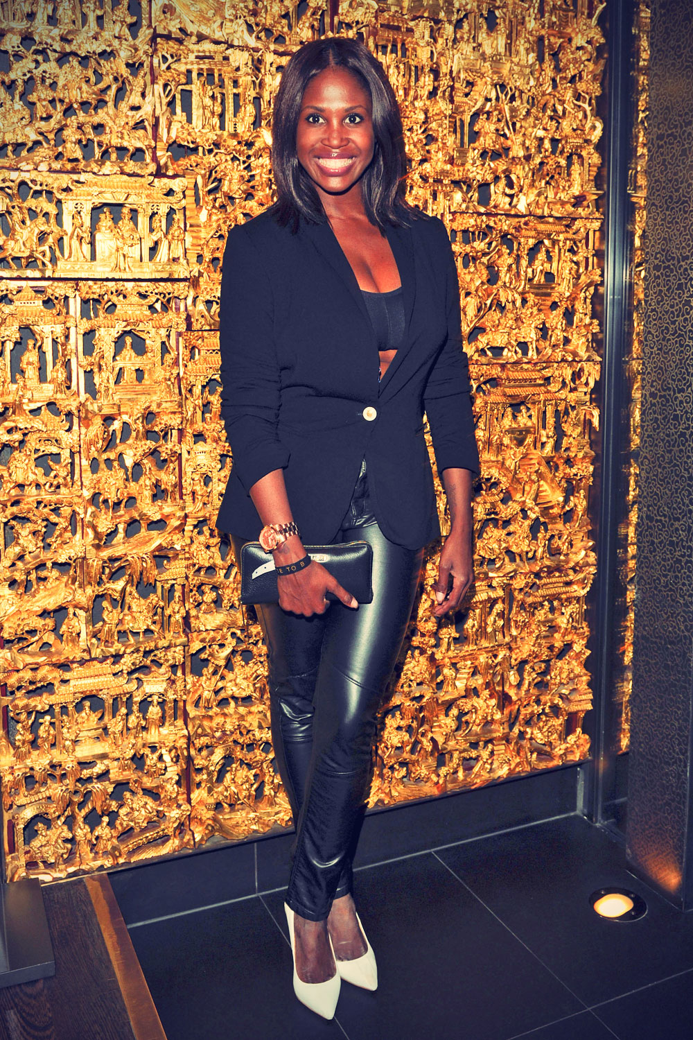 motsi mabuse arrives at the place to be party leather celebrities. Black Bedroom Furniture Sets. Home Design Ideas