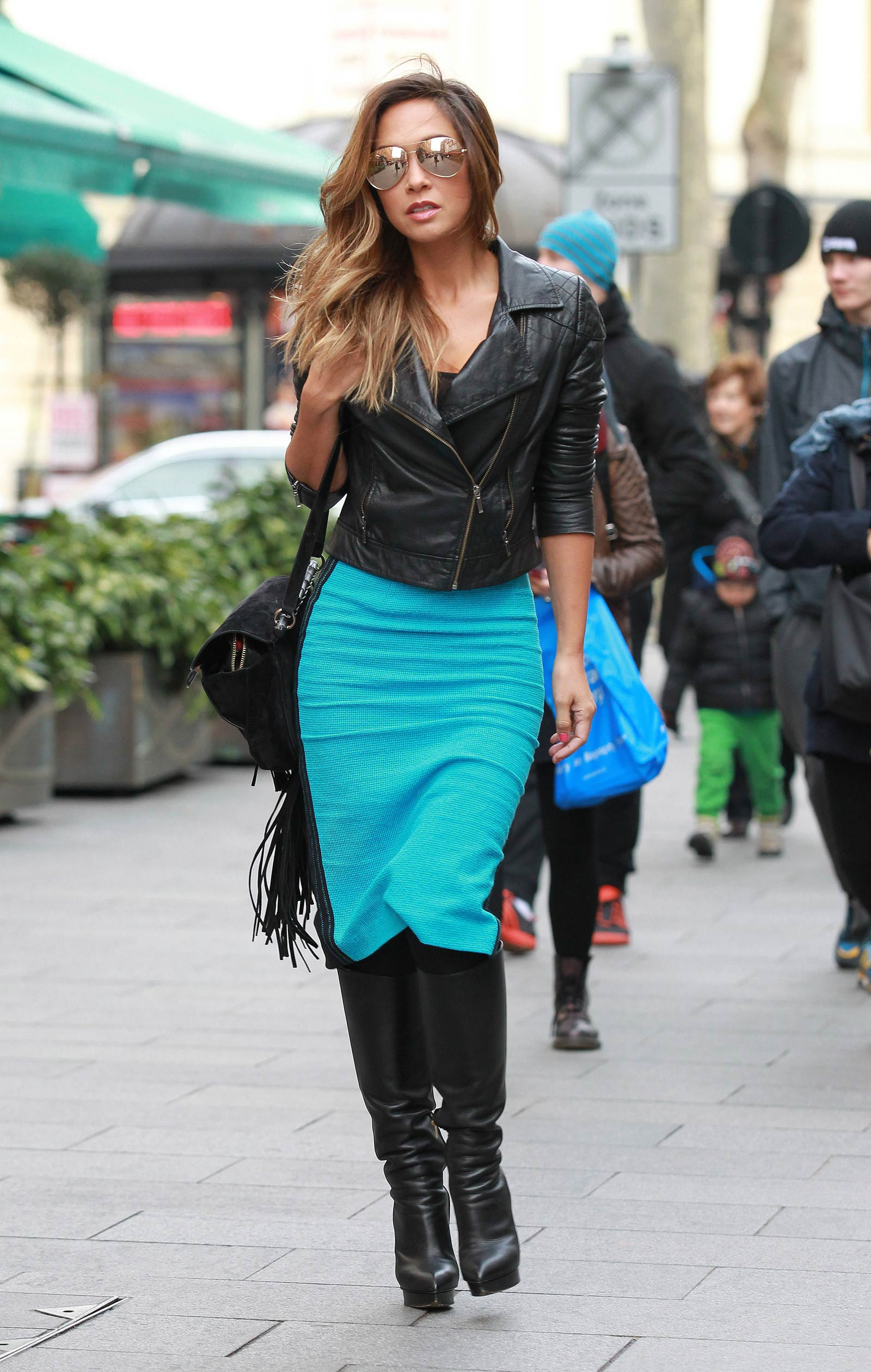 Myleene Klass Out And About In London Leather Celebrities