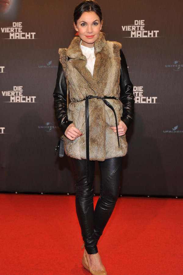 Nadine Warmuth attends Die Vierte Macht World Premiere at the CineStar Sony Center in Berlin