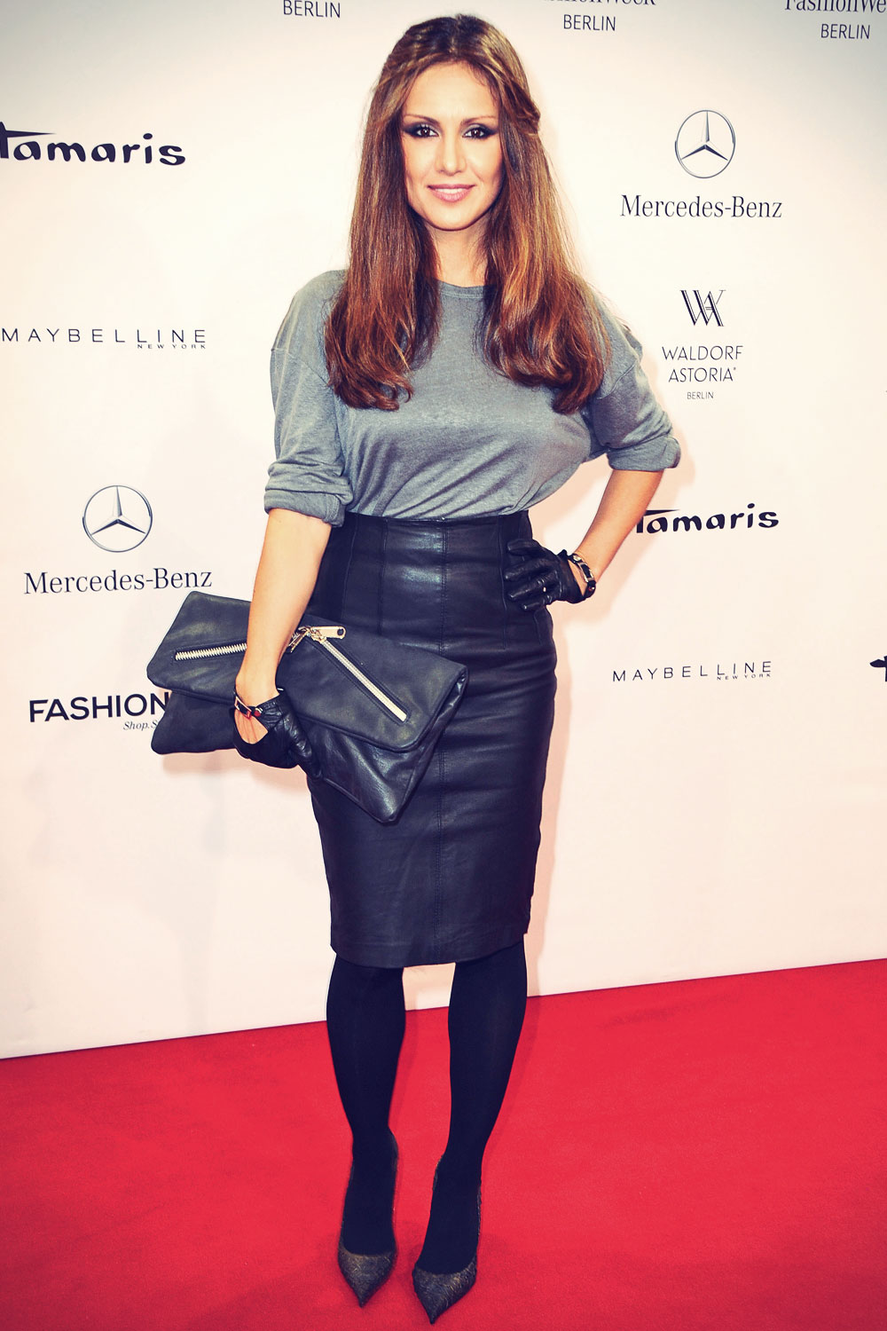 nazan eckes attends mercedes benz fashion week leather celebrities. Cars Review. Best American Auto & Cars Review