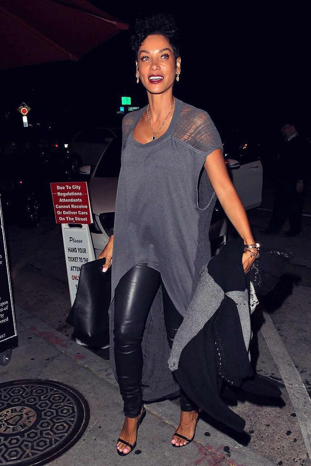Nicole Murphy Arriving At Craig S Restaurant Leather
