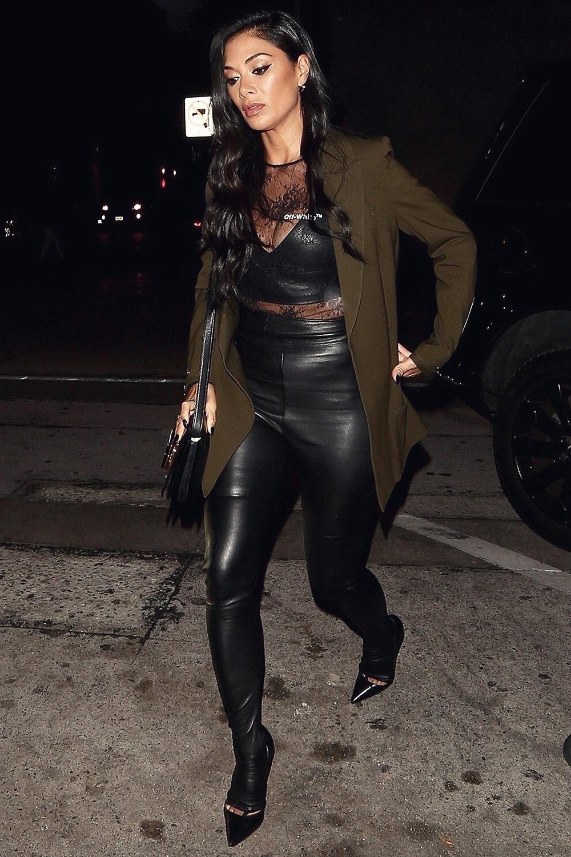 nicole scherzinger arriving for dinner leather celebrities. Black Bedroom Furniture Sets. Home Design Ideas