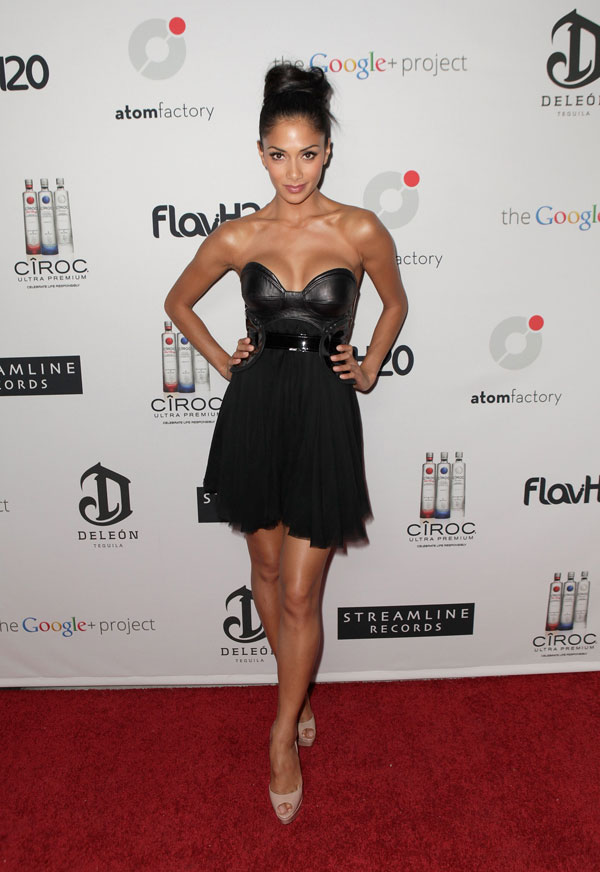 Nicole Scherzinger in a dress with a leather bodice