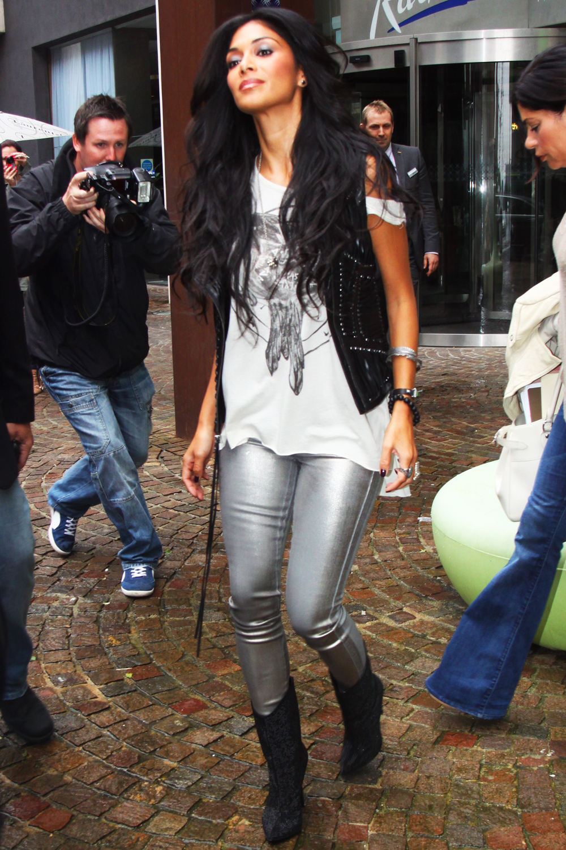 Nicole Scherzinger leaving Liverpool's Radisson hotel