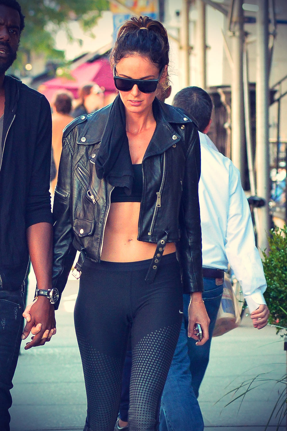 Nicole Trunfio goes out for a stroll with her boyfriend