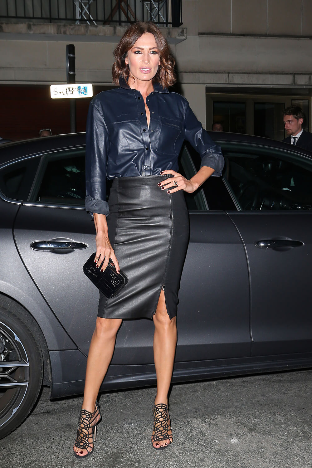 Nieves Alvarez Attends Karl Lagerfeld Tribute Leather