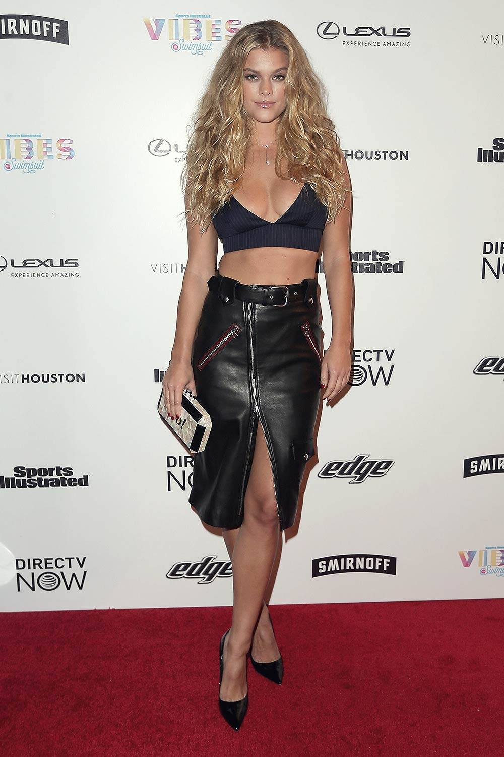 Nina Agdal black leather skirt
