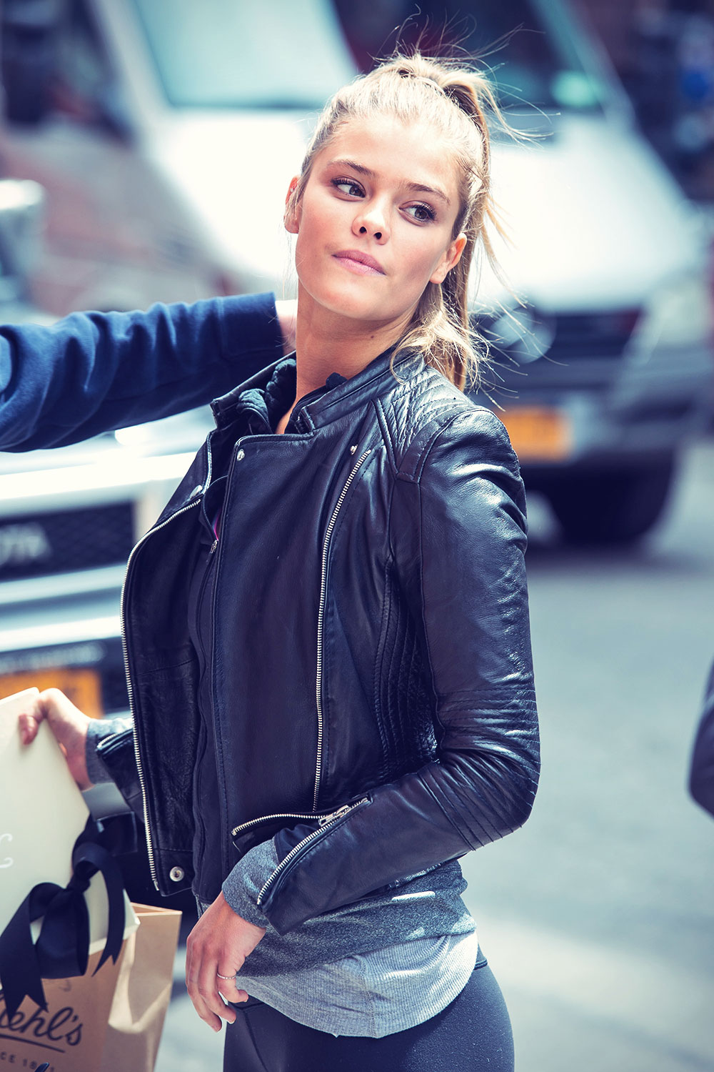 Nina Agdal on the streets of Manhattan