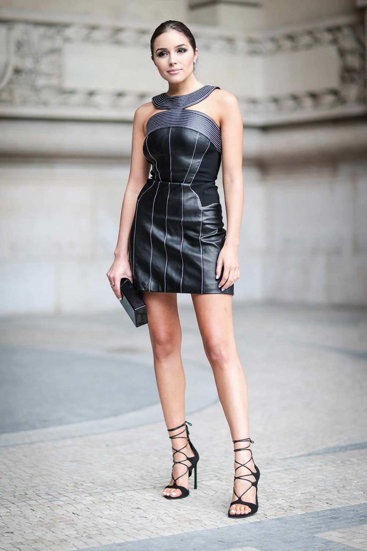 olivia culpo street style in paris leather celebrities