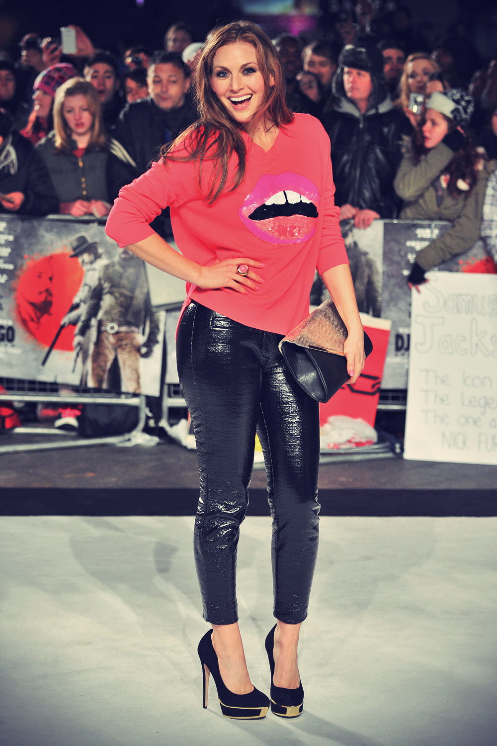 Olivia Lee attends The UK premiere of Django Unchained