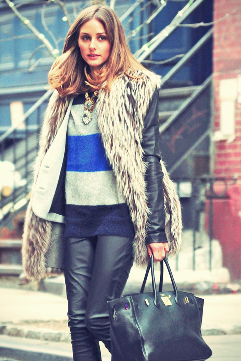 Olivia Palermo leather mix