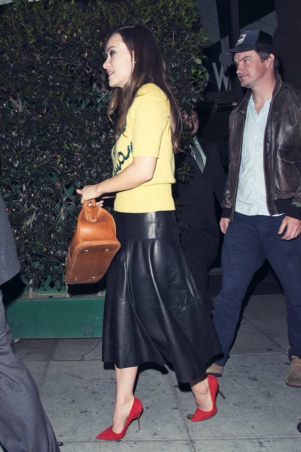 Olivia Wilde leaving Mr Chow's