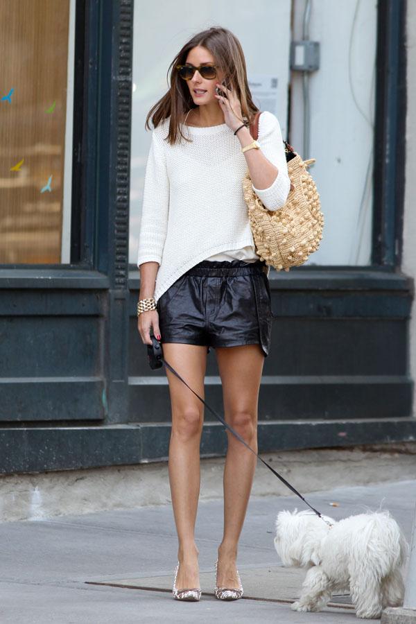 Olivia Palermo walking her dog