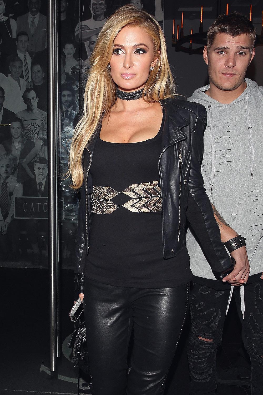 Paris Hilton leaving Catch