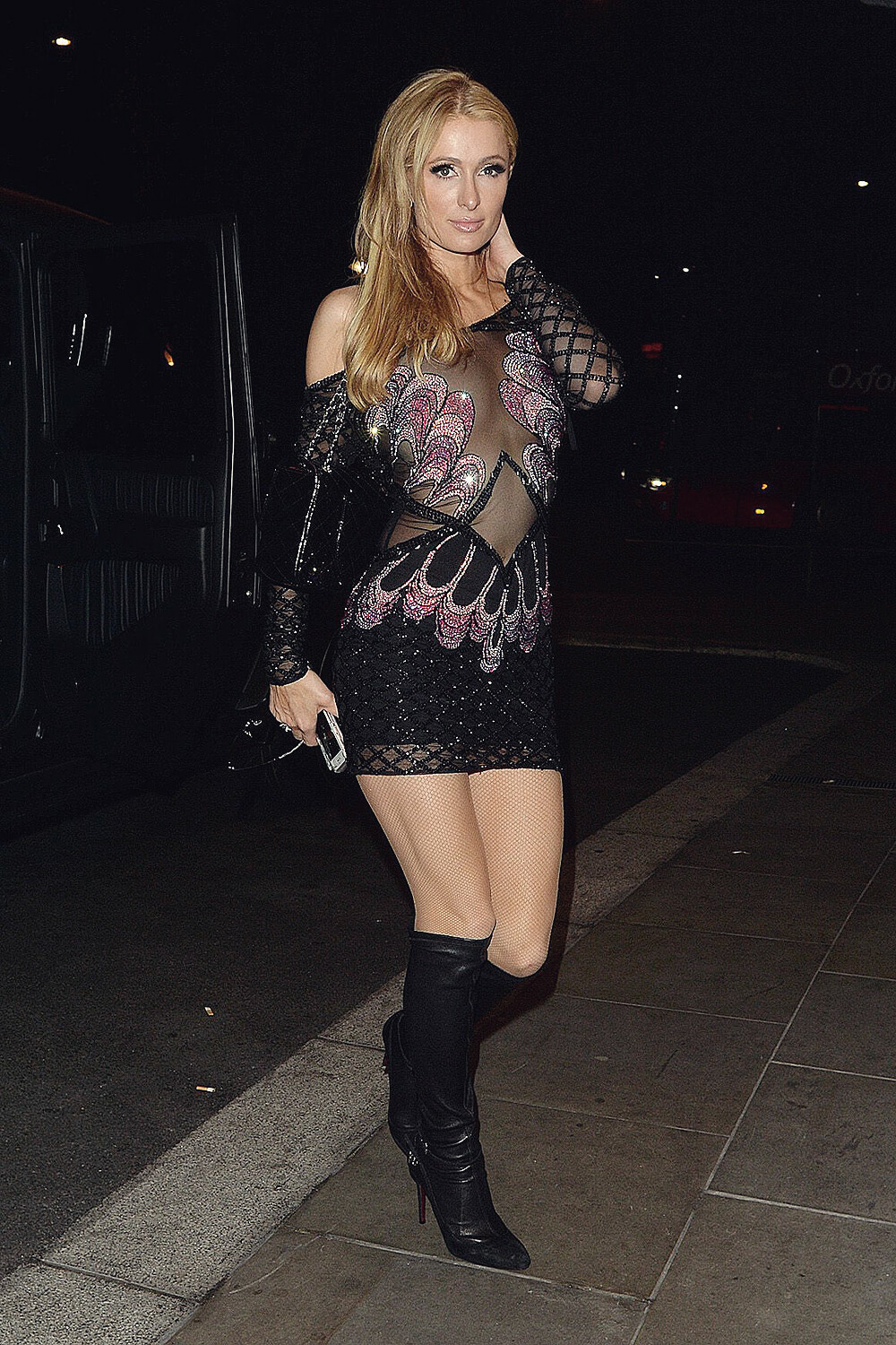 Paris Hilton Returns To Her Hotel After A Party Leather