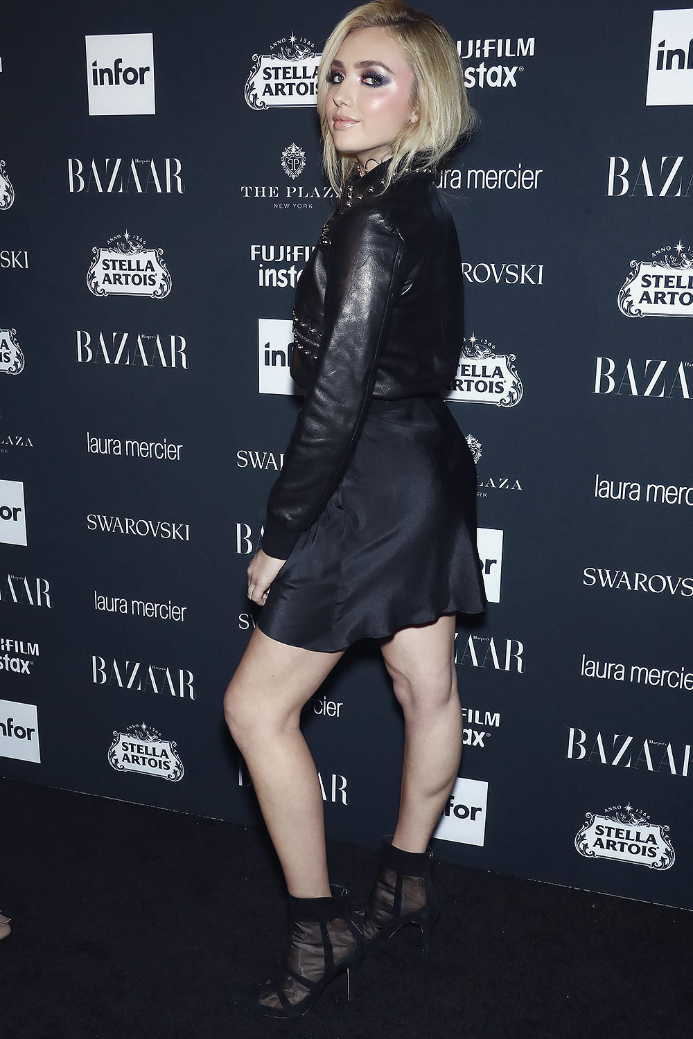 Peyton list leather style trends leather celebrities peyton roi list attends harpers bazaar icons party m4hsunfo