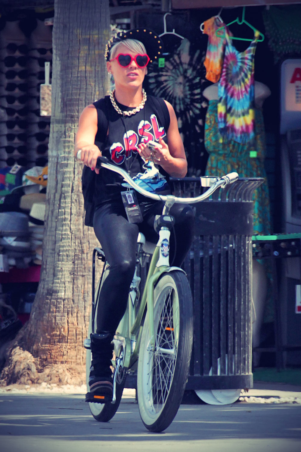 Pink riding her bike in Los Angeles