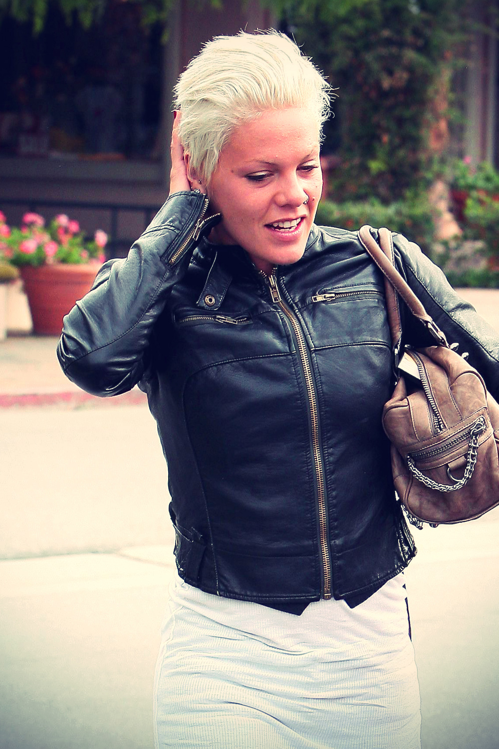 Pink with leather jacket