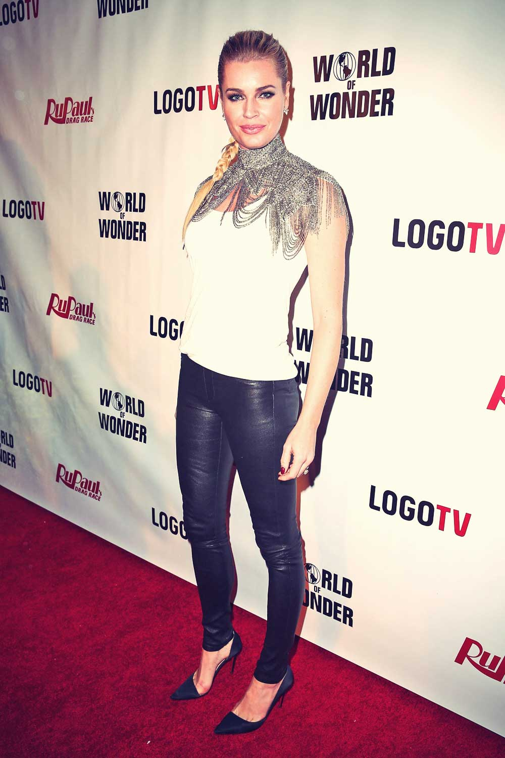Rebecca Romijn attends the premiere of Logo TV RuPaul Drag Race