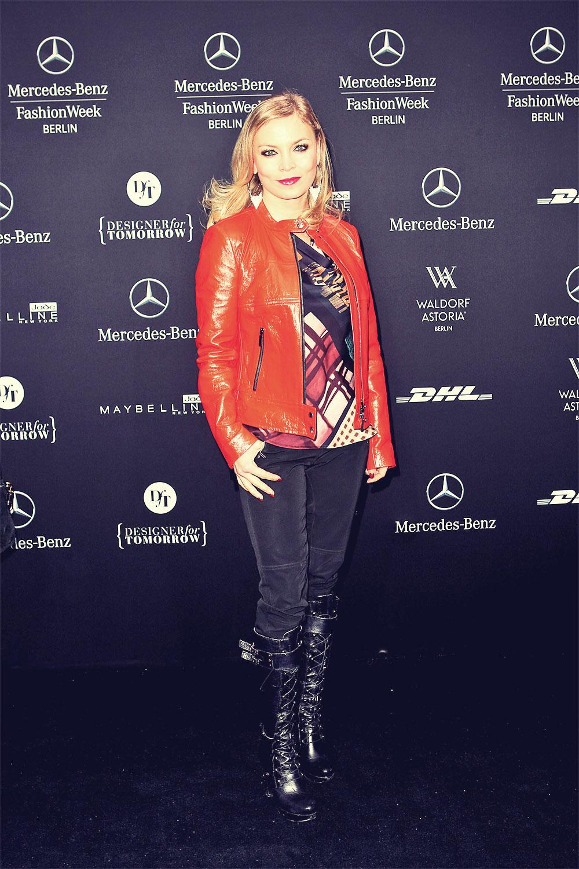 Regina Halmich attends Mercedes Benz Fashion Week 2013 Berlin
