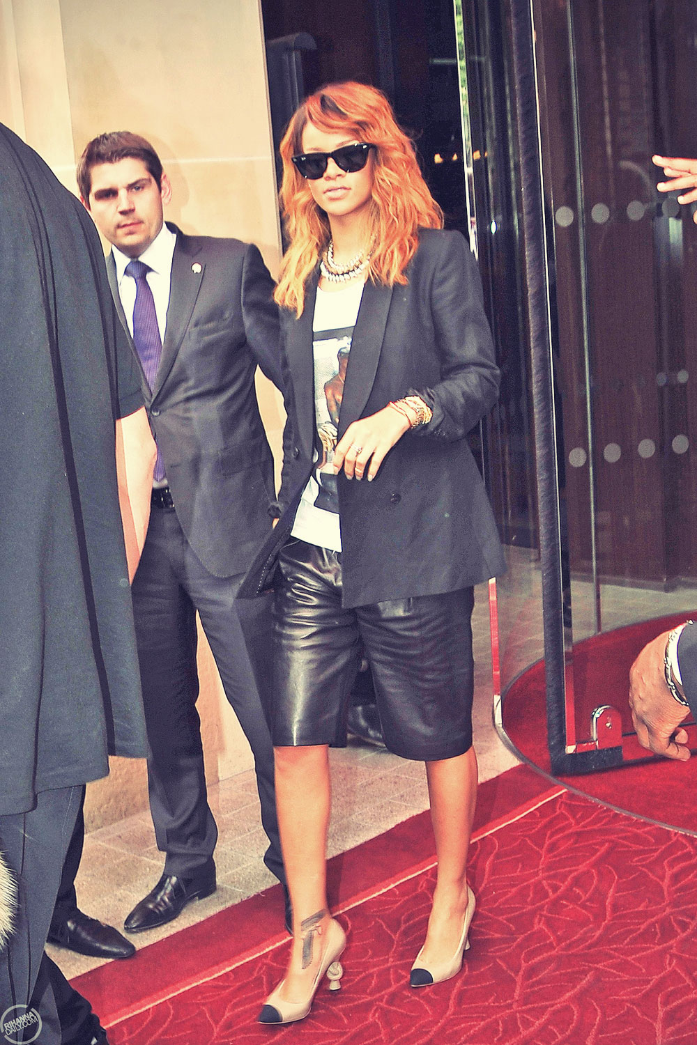 Rihanna at Laissant son hotel in Paris