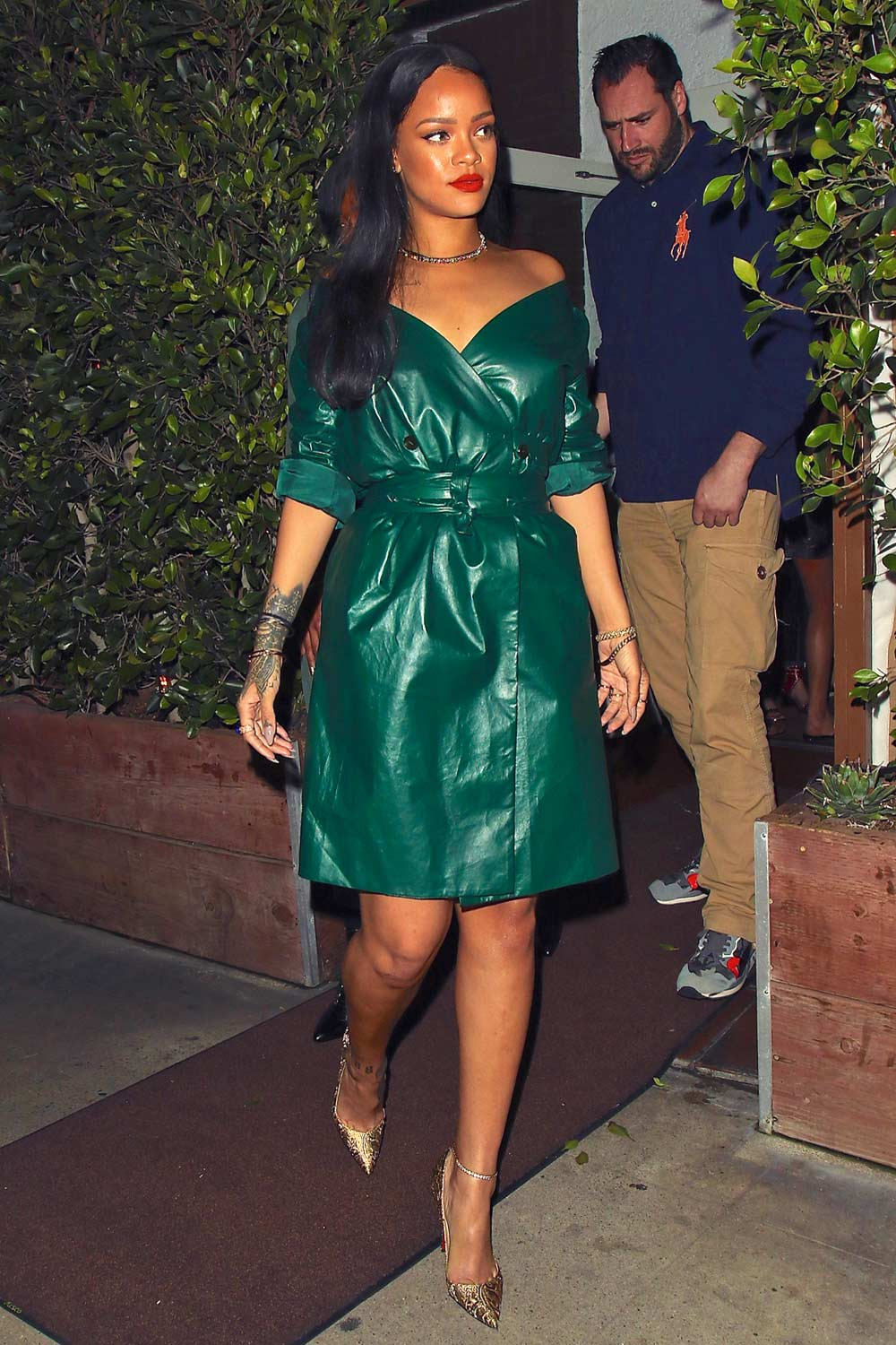1d7cd334885a Rihanna is spotted leaving dinner at Giorgio Baldi - Leather Celebrities
