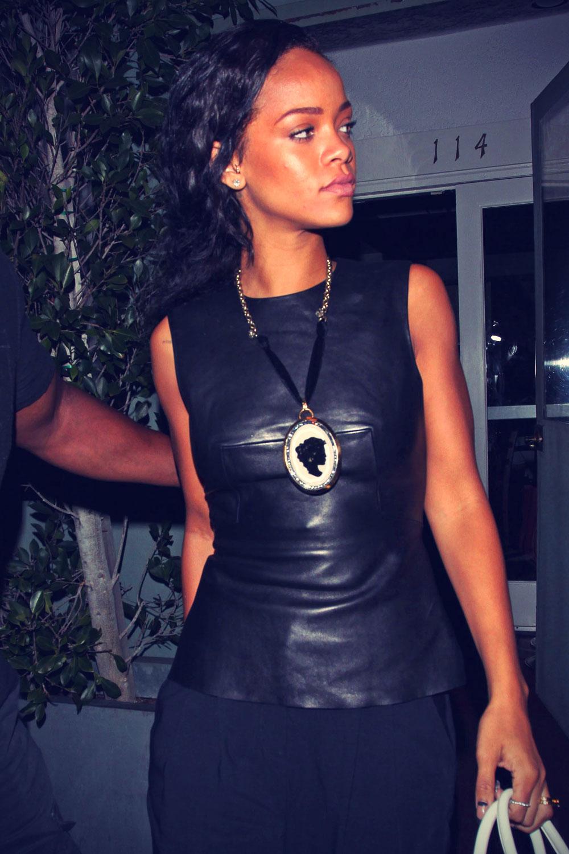 Rihanna leaving di Giorgio Baldi restaurant