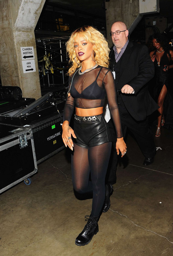 Rihanna backstage during the 2012 Grammy Awards