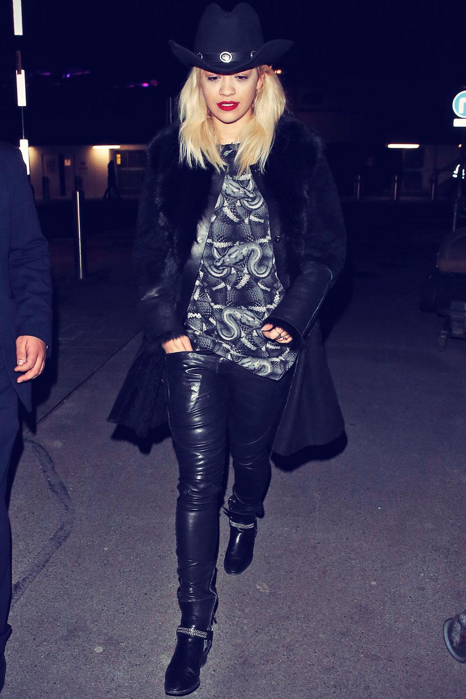 Rita Ora arrives at London Heathrow Airport