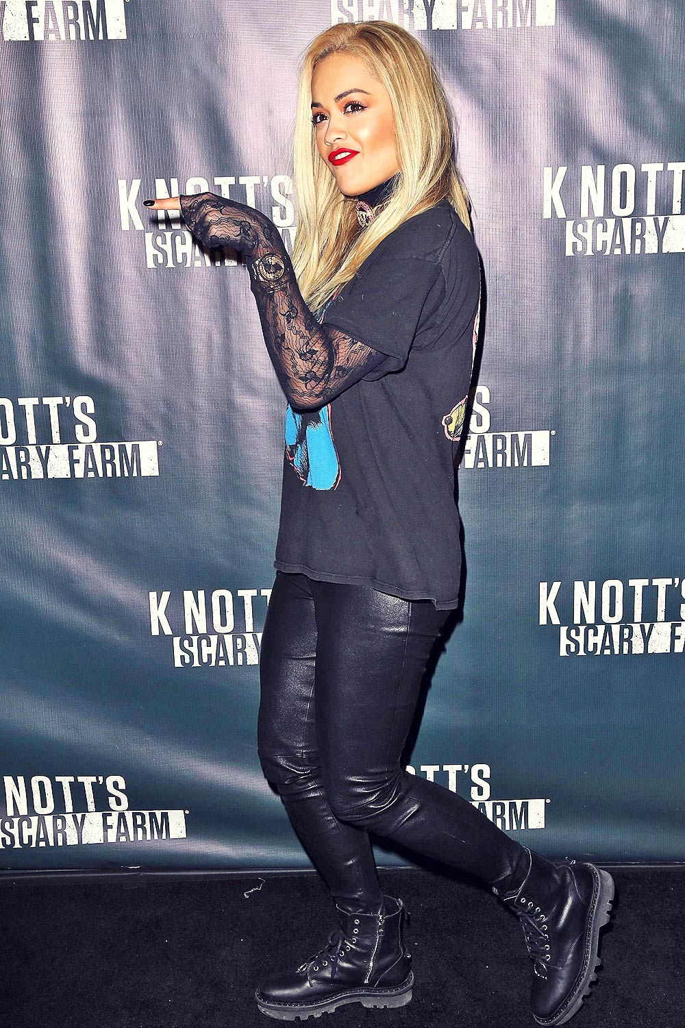 Rita Ora attends Knott's Scary Farm Black Carpet