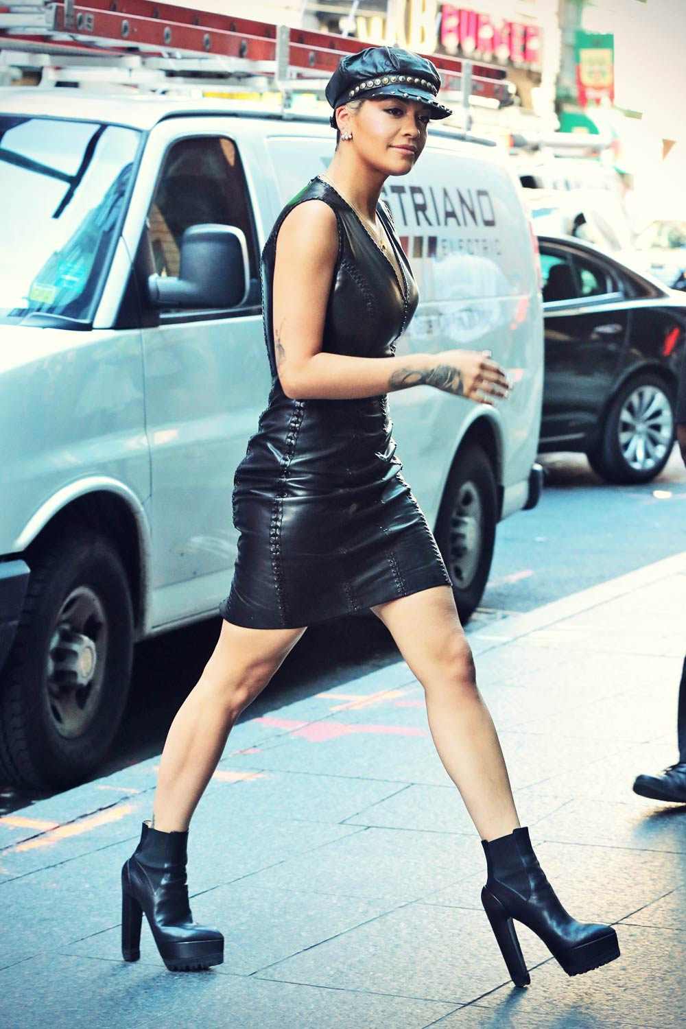 Rita Ora is spotted leaving a building while out and about in New York