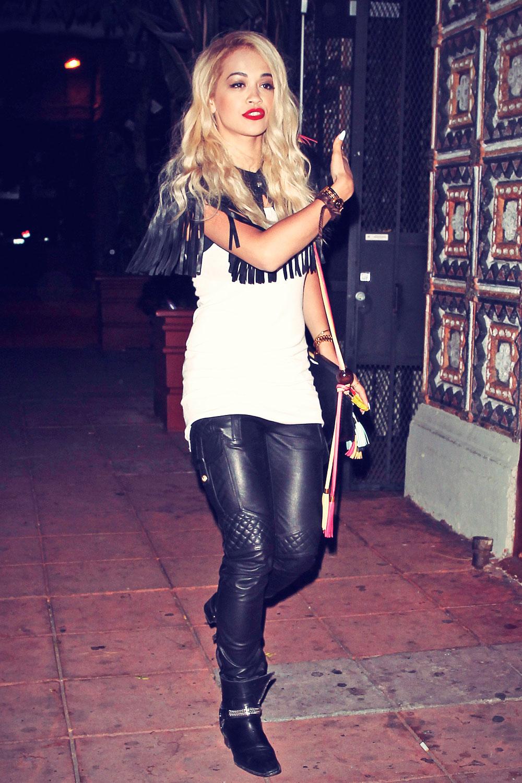 Rita Ora leaves The Belasco Theatre