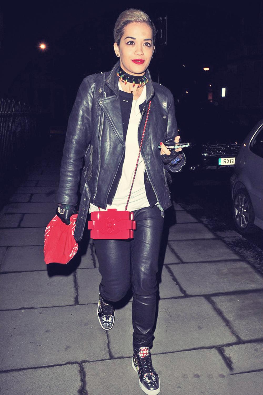 Rita Ora makes a late night visit at Cara Delevingne's home