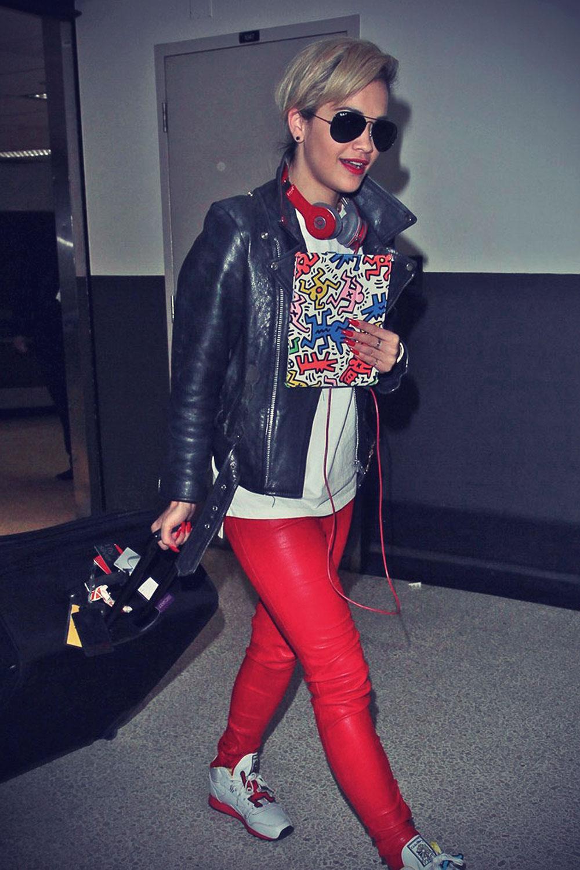 Rita Ora arriving on a flight at LAX Airport