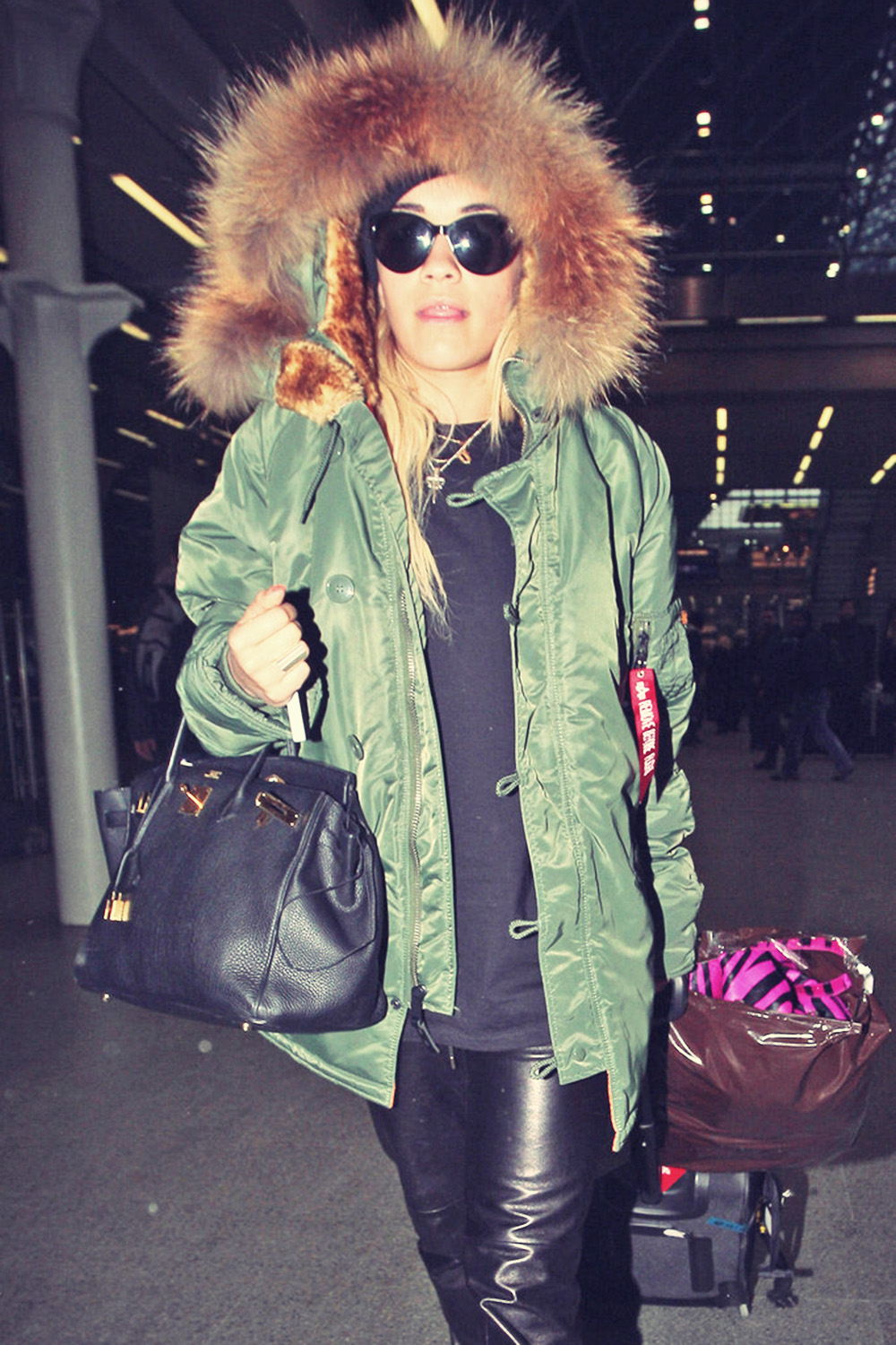 Rita Ora arrives back at the St Pancras