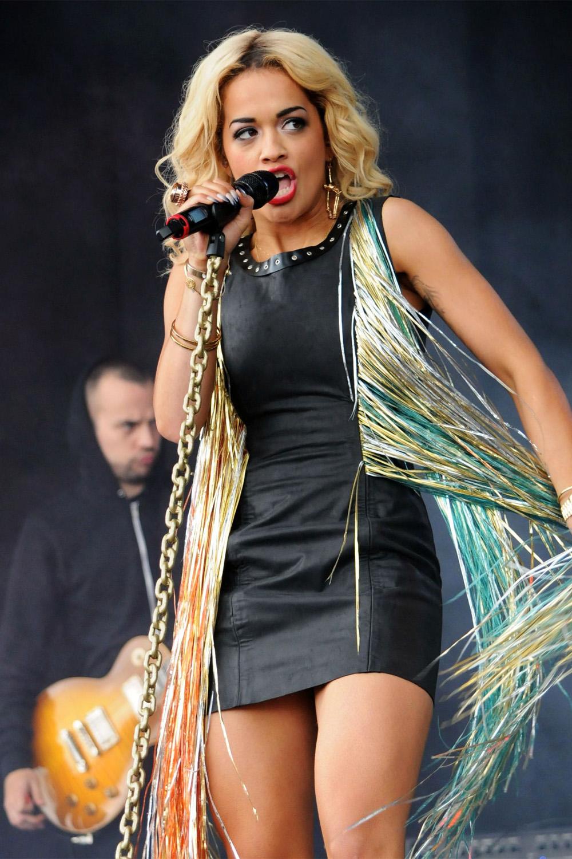 Rita Ora leather dress