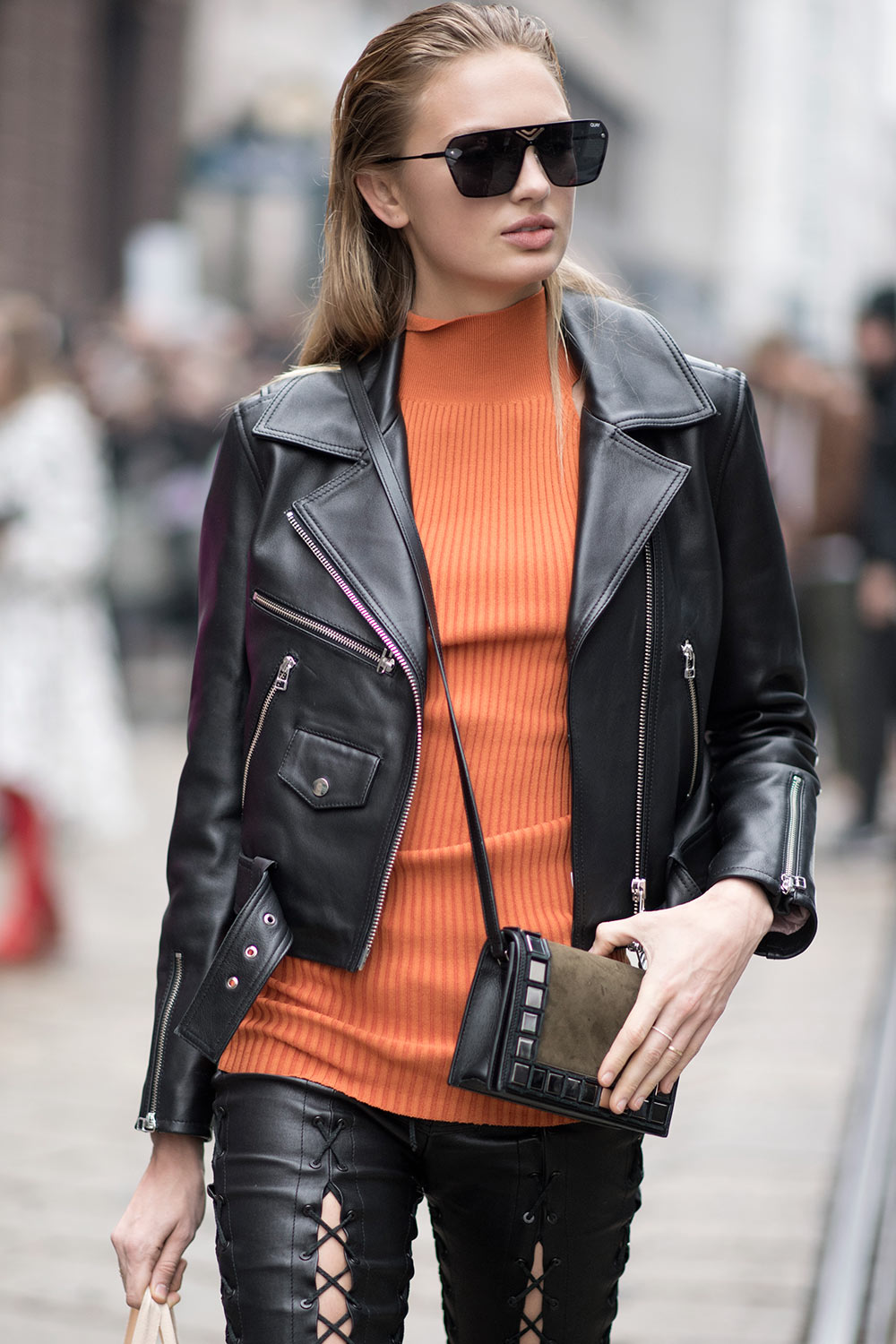 Romee Strijd Is Seen During Milan Fashion Week Leather